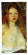 A Red-haired Model Beach Towel by William James Glackens
