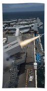 A Rim-7 Sea Sparrow Missile Is Launched Beach Towel by Stocktrek Images