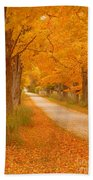 A Romantic Country Walk In The Fall Beach Towel