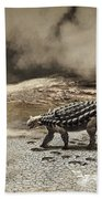 A Saichania Chulsanensis Dinosaur Beach Towel