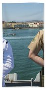 A Sailor And Marine Man The Rails Beach Towel by Stocktrek Images