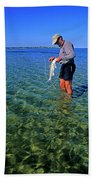 A Salt Water Fly Fisherman Catches Beach Towel