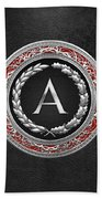 A - Silver Vintage Monogram On Black Leather Beach Towel