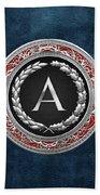 A - Silver Vintage Monogram On Blue Leather Beach Towel