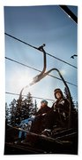 A Skier And Snowboarder Share The Chair Beach Sheet