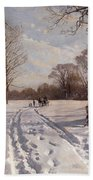 A Sleigh Ride Through A Winter Landscape Beach Towel by Peder Monsted