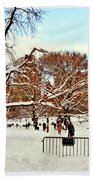 A Snow Day In Central Park Beach Towel