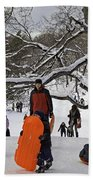 A Snow Day In The Park Beach Towel