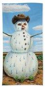 A Snowman In Texas Beach Towel
