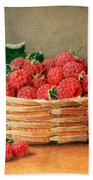 A Still Life Of Raspberries In A Wicker Basket  Beach Towel