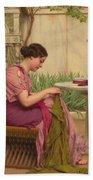 A Stitch Is Free Or A Stitch In Time 1917 Beach Towel by John William Godward