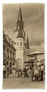 A Sunny Afternoon In Jackson Square Sepia Beach Towel