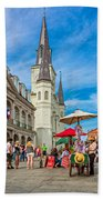 A Sunny Afternoon In Jackson Square Beach Towel