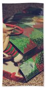 A Sweet Christmas Surprise Beach Towel by Laurie Search