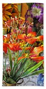 A Table Of Flowers Beach Towel