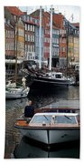 A Tour Boat At Nyhavn Beach Towel