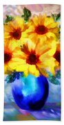 A Vase Of Sunflowers Beach Towel by Valerie Anne Kelly