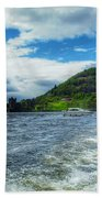 A View Of Urquhart Castle From Loch Ness Beach Towel