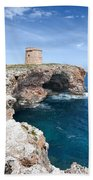 Xviii Defensive Tower In Alcafar Minorca - A Walk About Cliffs Beach Towel