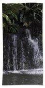 A Waterfall As Part Of An Exhibit Inside The Jurong Bird Park Beach Towel