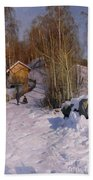 A Winter Landscape With Children Sledging Beach Towel by Peder Monsted