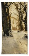 A Wooded Winter Landscape With Deer Beach Towel by Peder Monsted