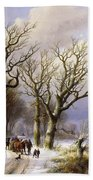 A Wooded Winter Landscape With Figures Beach Towel