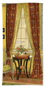 A Yellow Library With A Vase Of Flowers Beach Sheet