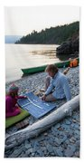 A Young Girl And Her Dad Enjoying Camp Beach Towel