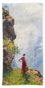 A Young Girl By A Fjord Beach Towel
