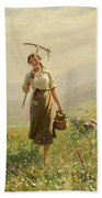 A Young Woman In The Meadow Beach Towel