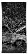 Abandoned Car Road To Hana Maui Beach Towel
