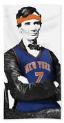 Abe Lincoln In A Carmelo Anthony New York Knicks Jersey Beach Towel
