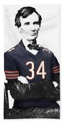 Abe Lincoln In A Walter Payton Chicago Bears Jersey Beach Towel