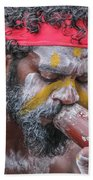 Aboriginal Playing Didgeridoo Beach Towel