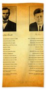 Abraham Lincoln And John F Kennedy Presidential Similarities And Coincidences Conspiracy Theory Fun Beach Towel