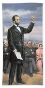 Abraham Lincoln Delivering The Gettysburg Address Beach Towel