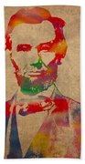 Abraham Lincoln Watercolor Portrait On Worn Distressed Canvas Beach Towel