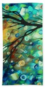 Abstract Art Landscape Circles Painting A Secret Place 2 By Madart Beach Towel