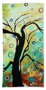 Abstract Art Landscape Circles Painting A Secret Place 3 By Madart Beach Towel