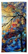 Abstract Art Landscape Metallic Gold Textured Painting Eye Of The Universe By Madart Beach Towel