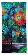 Abstract Art Landscape Tree Blossoms Sea Painting Under The Light Of The Moon II By Madart Beach Towel