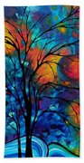 Abstract Art Landscape Tree Bold Colorful Painting A Secret Place By Madart Beach Towel