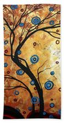Abstract Art Landscape Tree Metallic Gold Texture Painting Free As The Wind By Madart Beach Towel by Megan Duncanson