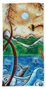 Abstract Art Original Alaskan Wilderness Landscape Painting Land Of The Free By Madart Beach Towel by Megan Duncanson