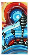 Abstract Art Original Colorful Funky House Painting Home On The Hill By Madart Beach Towel