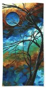 Abstract Art Original Colorful Painting Mystery Of The Moon By Madart Beach Towel