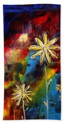 Abstract Art Original Daisy Flower Painting Visual Feast By Madart Beach Towel by Megan Duncanson