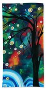 Abstract Art Original Landscape Painting Bold Circle Of Life Design Dance The Night Away By Madart Beach Towel