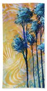 Abstract Art Original Landscape Painting Contemporary Design Blue Trees II By Madart Beach Towel